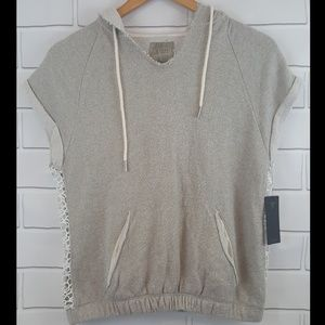 Guess Womens Sleeveless Sweatshirt Lace Hoodie Sm